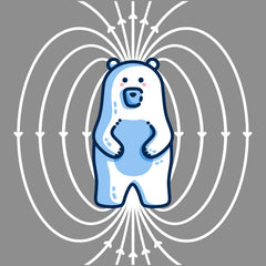 A kawaii cute polar bear standing upright surrounded by magnetic field lines