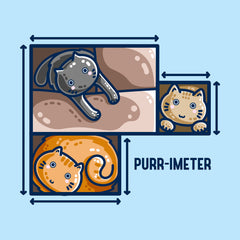 Perimeter maths pun of three cats in cardboard boxes with measurement lines and the word purr-imeter.