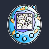 Blue tamagotchi style digital pet with a group of rabbits on the screen and carrots decoration