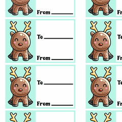 Picture of a grid of printable gift tags of a kawaii cute red nosed reindeer sitting next to two lines for to and from