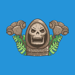 Skeletor and staff Hawaiian tiki with leaves