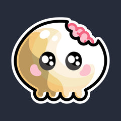 Kawaii cute skull with brains showing through a bite