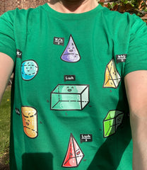 Selfie photo wearing a green t-shirt with the speaking volumes pun design.