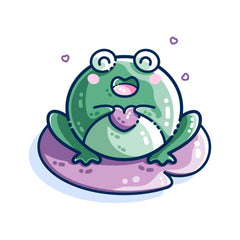 A kawaii cute happy green frog or toad holding a purple heart sitting on a purple lilly pad with some small hearts around it