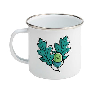 Cute acorn and oak leaves design on a silver rimmed white enamel mug, showing LHS