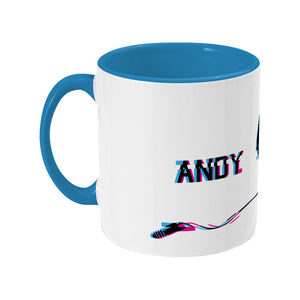 Glitch art headphones personalised design on a two toned blue and white ceramic mug, showing LHS
