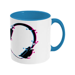 Glitch art headphones personalised design on a two toned blue and white ceramic mug, showing RHS