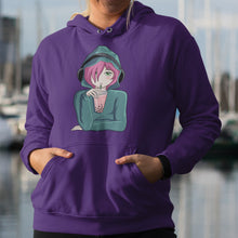 Load image into Gallery viewer, Torso of a woman wearing a purple hoodie with her hands in the front pouch and the neck cords tucked in with the design on the chest of an anime girl wearing headphones and drinking boba tea