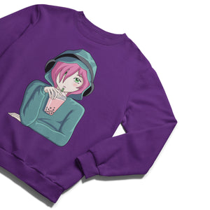 A purple unisex crewneck sweatshirt with a design of a girl with pink hair and green eyes wearing headphones over a green hoodie and holding a pink bubble tea with a green straw