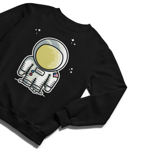 A black unisex crewneck sweatshirt laid flat with a cute astronaut space suit and some stars around it, a name can be added to the space suit chest