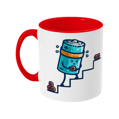 A two-toned red and white ceramic mug with the handle to the left and a design of a kawaii cute blue cylindrical battery wearing an orange sweatband, with a facial expression of effort, moving positive charge up steps.