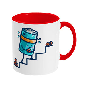 A two-toned red and white ceramic mug with the handle to the right and a design of a kawaii cute blue cylindrical battery wearing an orange sweatband, with a facial expression of effort, moving positive charge up steps.