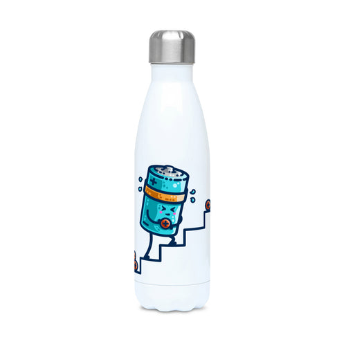 A white stainless steel drinks bottle with a silver coloured lid on and a design of a kawaii cute blue cylindrical battery wearing an orange sweatband, with a facial expression of effort, moving positive charge up steps.