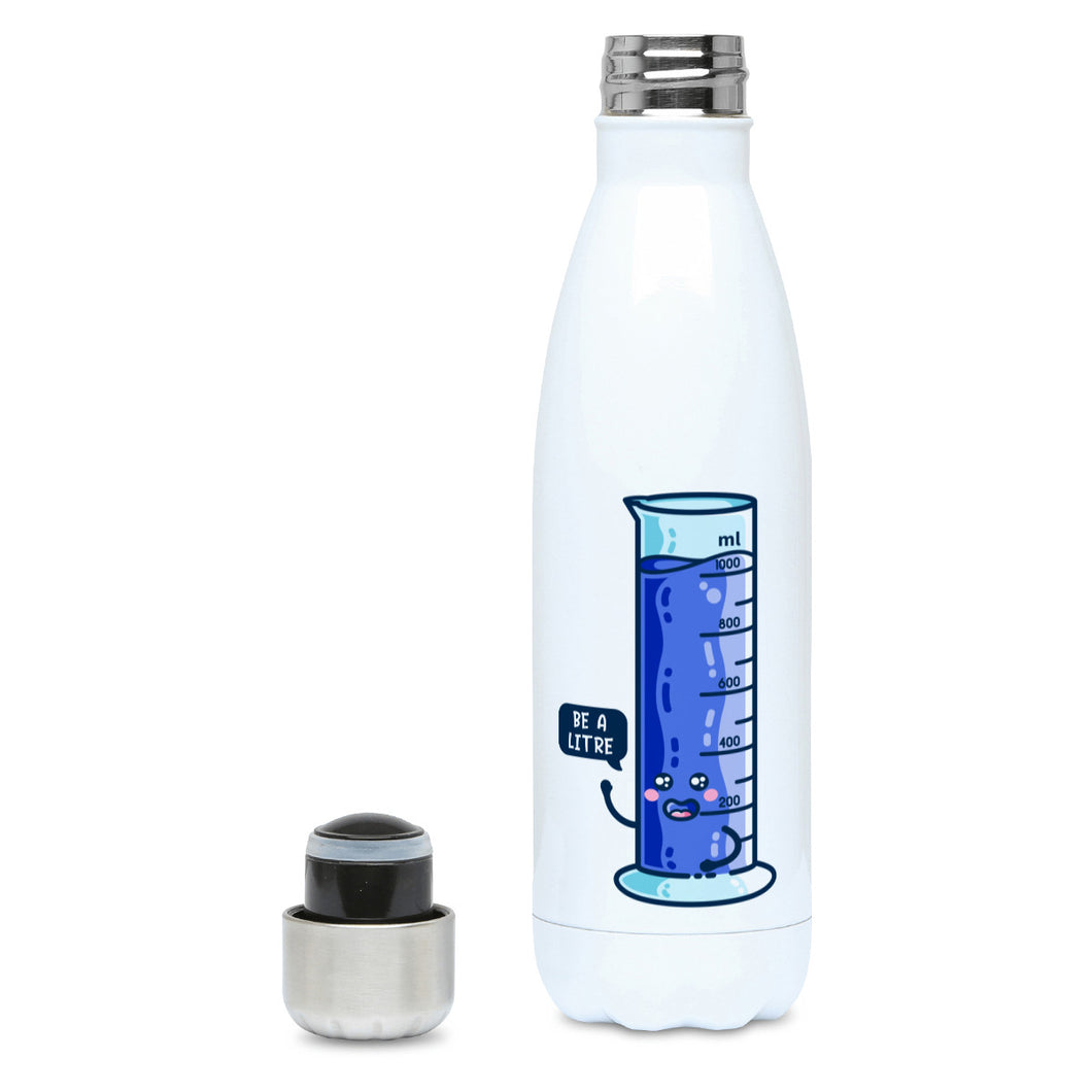 Cute blue graduated cylinder with be a litre speech bubble design on a white metal insulated drinks bottle, lid off