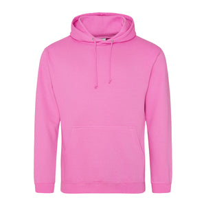 Picture of a candyfloss pink colour AWDis college hoodie with neck cords and front pouch