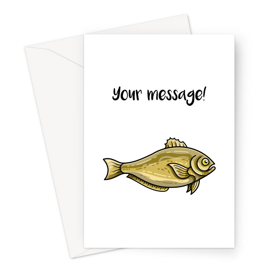 Personalised greeting card of carp-like fish on a white background