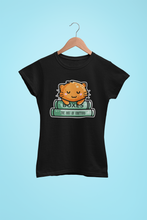 Load image into Gallery viewer, Cute ginger cat asleep on two books design on a black womens cotton crewneck t-shirt
