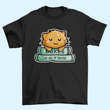 Load image into Gallery viewer, Cute ginger cat asleep on two books design on a black mens cotton crewneck t-shirt