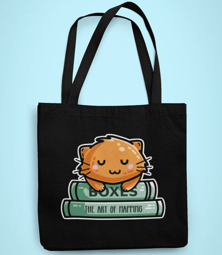 Cute ginger cat asleep on two books design on a black recycled cotton and polyester tote bag