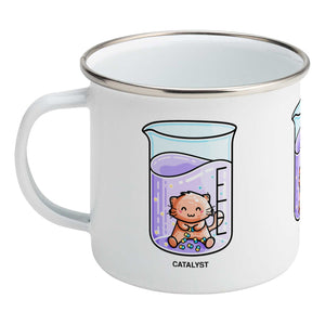 Cute cat joining atoms in a chemistry beaker of liquid design on a silver rimmed white enamel mug, showing LHS