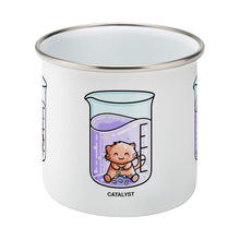 Load image into Gallery viewer, Cute cat joining atoms in a chemistry beaker of liquid design on a silver rimmed white enamel mug, side view