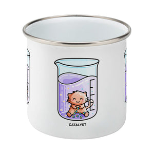 Cute cat joining atoms in a chemistry beaker of liquid design on a silver rimmed white enamel mug, side view