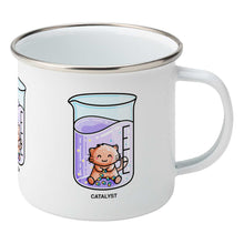 Load image into Gallery viewer, Cute cat joining atoms in a chemistry beaker of liquid design on a silver rimmed white enamel mug, showing RHS