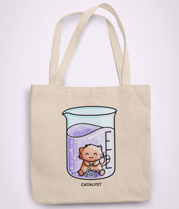Cute cat joining atoms in a chemistry beaker design on a recycled cotton tote bag