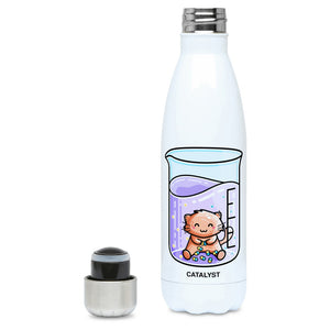 Cute cat joining atoms in a chemistry beaker design on a white metal insulated drinks bottle, lid off