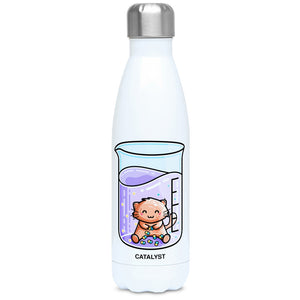 Cute cat joining atoms in a chemistry beaker design on a white metal insulated drinks bottle, lid on