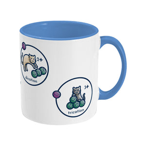 cat, cation, dication and trication represented as cats with balls of wool on a ceramic mug, shows handle to right