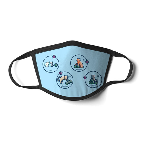 A pale blue rectangular face mask with black cords and a design of four circles illustrating cat, cation, dication and trication using cute cats and balls of wool