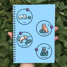 Load image into Gallery viewer, cat, cation, dication and trication represented as cats with balls of wool on a blue spiral notebook being held in a hand