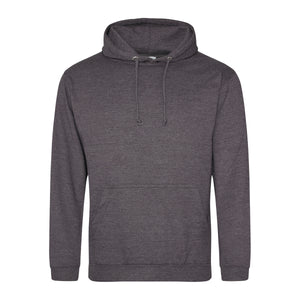 Picture of a charcoal grey colour AWDis college hoodie with neck cords and front pouch