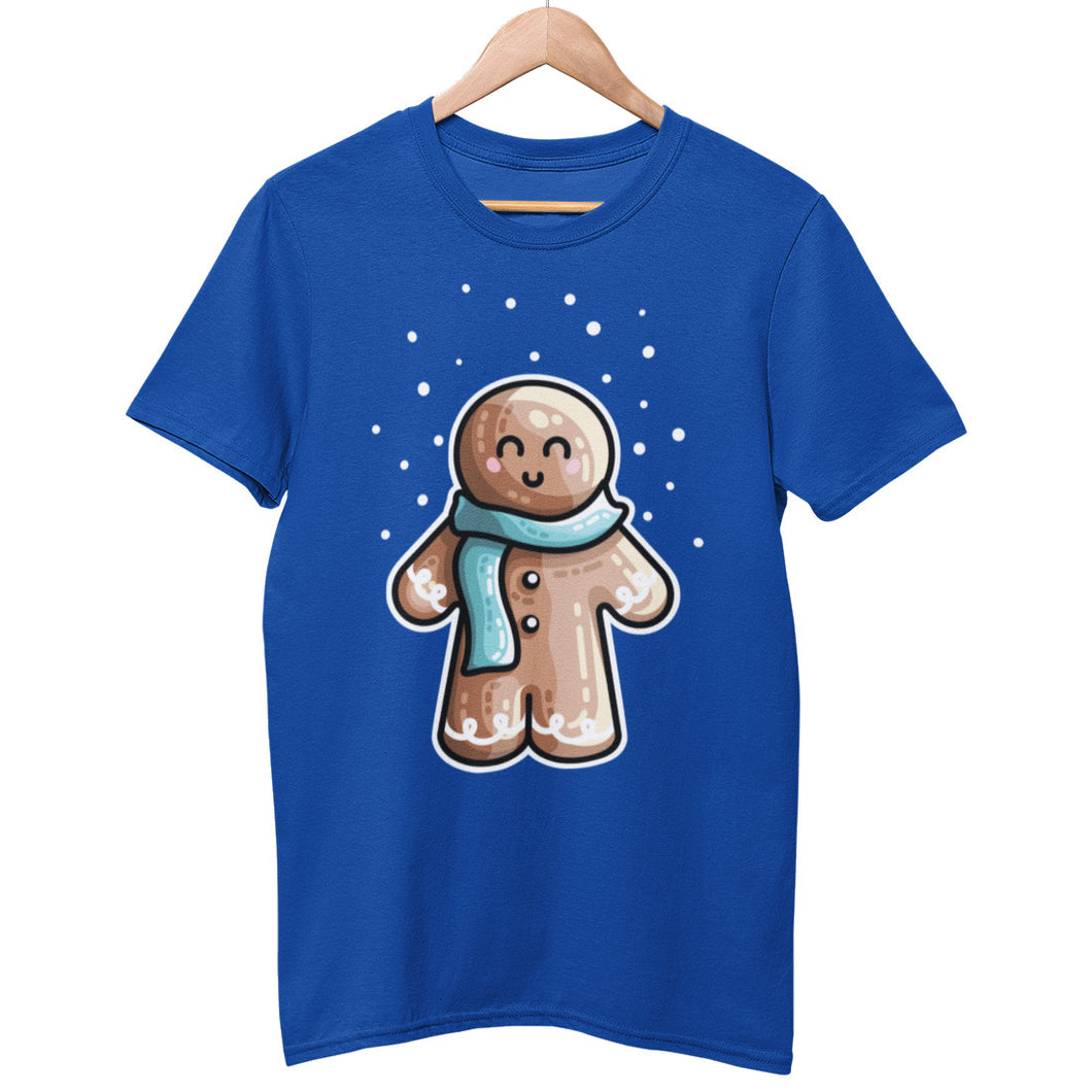A royal blue colour unisex crewneck t-shirt on a hanger with a design on its chest of a kawaii cute gingerbread person standing in the snow and wearing a blue scarf