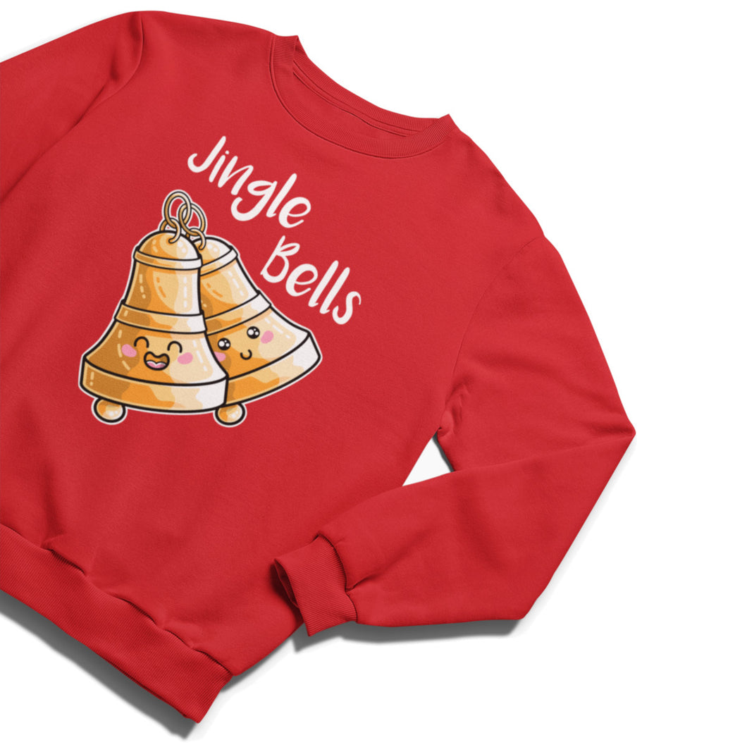 A red unisex crewneck sweatshirt laid flat at an angle with a design of two happy kawaii cute brass bells at an angle ringing and the words jingle bells written above in white.