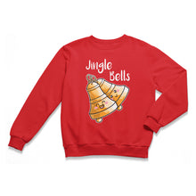 Load image into Gallery viewer, A red unisex crewneck sweatshirt laid flat with a design of two happy kawaii cute brass bells at an angle ringing and the words jingle bells written above in white.