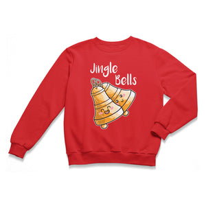 A red unisex crewneck sweatshirt laid flat with a design of two happy kawaii cute brass bells at an angle ringing and the words jingle bells written above in white.