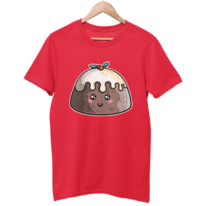 A red colour unisex crewneck t-shirt on a hanger with a design on its chest of a kawaii cute Christmas pudding with cream and a sprig of holly on the top
