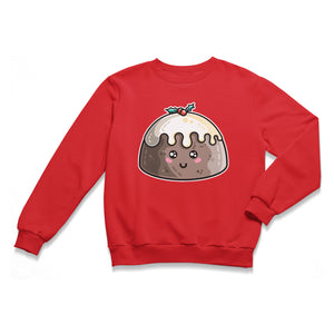 A red unisex crewneck sweatshirt laid flat with a design of a kawaii cute smiling Christmas pudding with cream poured over the top and a sprig of holly.