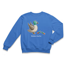 Load image into Gallery viewer, A blue unisex crewneck sweatshirt laid flat with a design of a kawaii cute mallard duck with its wings raised in alarm and a newly pulled open Christmas cracker at its feet, and the words Christmas Quacker written beneath.