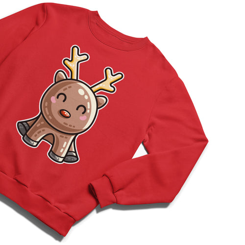 A red unisex crewneck sweatshirt laid flat at an angle with a design of a kawaii cute reindeer with antlers and a red nose in a sitting down position.