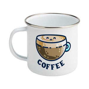 A silver rimmed white enamel mug with the handle to the left showing a design of a kawaii cute glass cup of coffee with a thick creamy layer at the top and a smiling face in the cream on the top. The word coffee is in capital letters beneath.