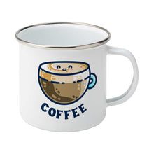 Load image into Gallery viewer, A silver rimmed white enamel mug with the handle to the right showing a design of a kawaii cute glass cup of coffee with a thick creamy layer at the top and a smiling face in the cream on the top. The word coffee is in capital letters beneath.