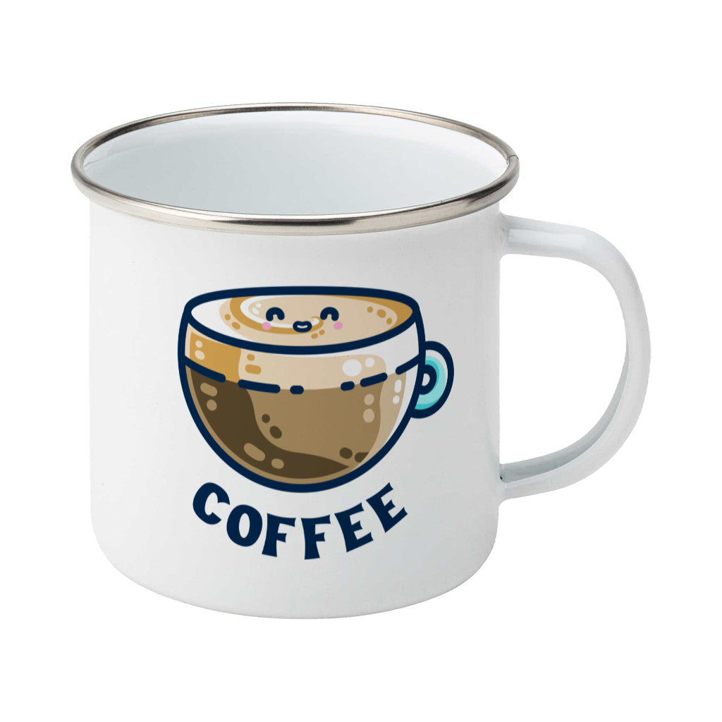 A silver rimmed white enamel mug with the handle to the right showing a design of a kawaii cute glass cup of coffee with a thick creamy layer at the top and a smiling face in the cream on the top. The word coffee is in capital letters beneath.