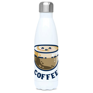 A tall white stainless steel drinks bottle seen from the front with its silver lid on and a design of a kawaii cute glass cup of coffee with a thick creamy layer at the top and a smiling face in the cream on the top. The word coffee is in capital letters beneath.