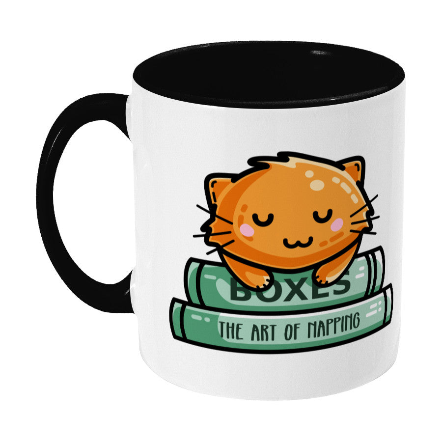 Cute ginger cat asleep on books design on a two toned black and white ceramic mug, showing LHS