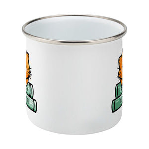 Cute ginger cat asleep on two books design on a silver rimmed white enamel mug, side view