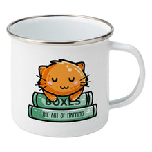 Load image into Gallery viewer, Cute ginger cat asleep on two books design on a silver rimmed white enamel mug, showing RHS