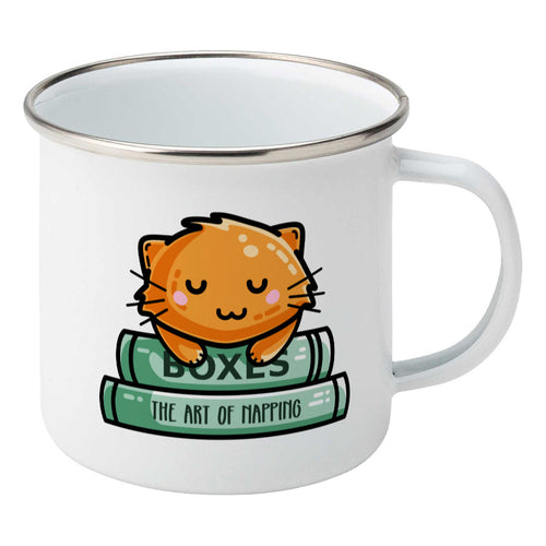 Cute ginger cat asleep on two books design on a silver rimmed white enamel mug, showing RHS
